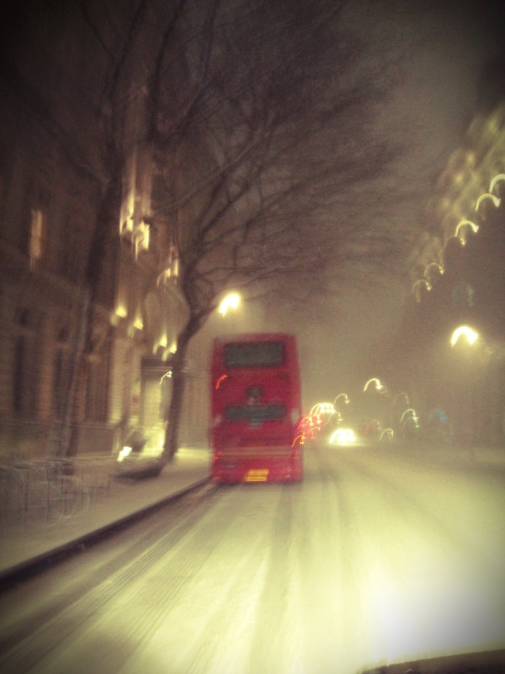 I took this from the front seat of the car as we were trailing a double decker bus along Old Brompton Road.